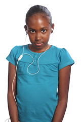 Young black girl with earphones listens to music