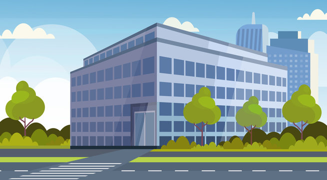 corporate business center modern office building view cityscape background flat horizontal