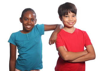 Boy and girl multi-racial pair happy school kids