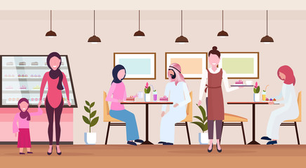 arabic people visitors sitting modern cafe shop waitress serving arab guests wearing traditional clothes bakery cafeteria interior cartoon characters full length flat horizontal