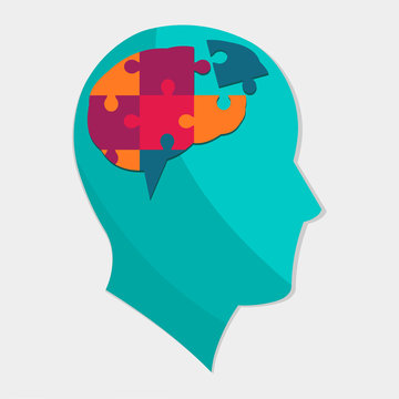 man silhouette with brain puzzle for autism day concept vector illustration
