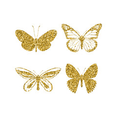 Set gold glitter butterflies. Beautiful spring, summer golden sequins silhouettes on white background. Icons different shapes wings, for fashion, ornaments, tattoo. Vector illustration.