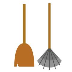 rake and broom flat illustration