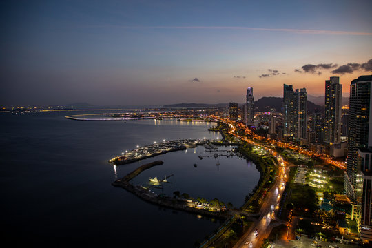 Aerial View from skyline in Panama City/Panama. View to the historical part of Panama City called Casco Viejo.