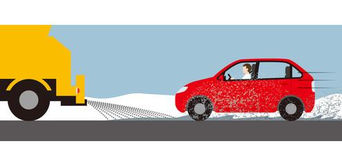 自動車の融雪剤散布による汚れ