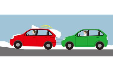 自動車の屋根に雪がつもったままの走行による危険
