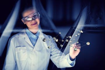 Attractive scientist in laboratory. Mixed media