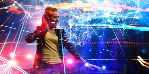 Female dj in nightclub. Mixed media