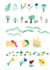 Hand drawing watercolor background with nature, forest, flowers. Village landscape.