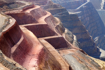 Close up view of layes of the gold mine Kalgoorlie