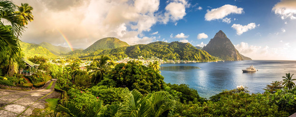 St. Lucia - Caribbean Sea with Pitons and Rainbow Wall mural