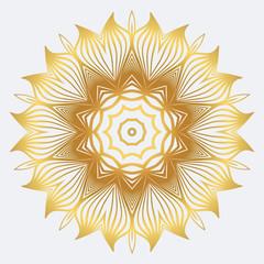 Modern Floral Vector Ornaments. Decorative Flower Mandala. Vector Illustration. White yellow gold colour