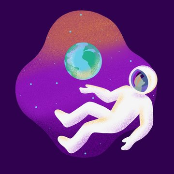 Modern Illustration with spaceman and Earth planet