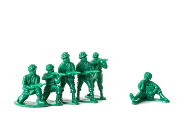 a detachment of green soldiers ready for service