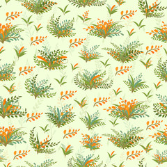 Seamless vector pattern with spring plants and sprigs on a light background