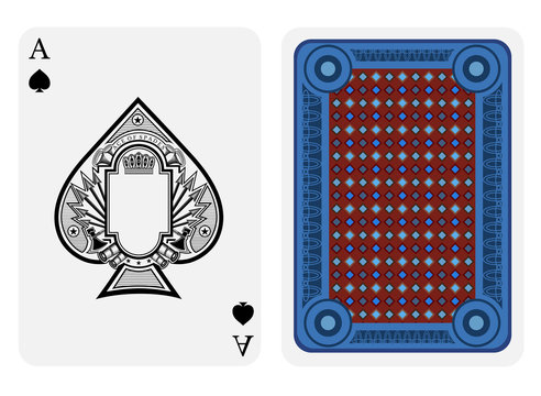 Ace of spades face with frame in center and vintage weapon around inside spades form and back with blue red geometrical texture on suit.