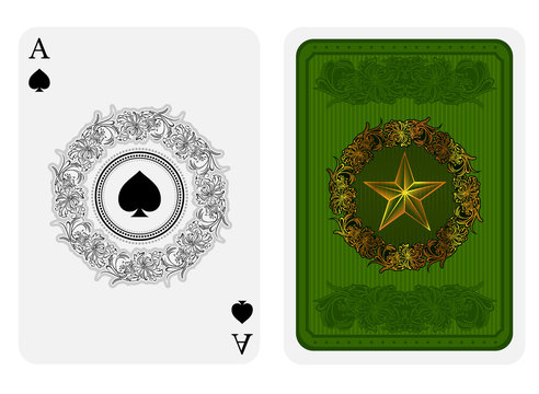 Ace of spades face with spades in center of flower pattern round frame and back with gold star with pattern on green suit