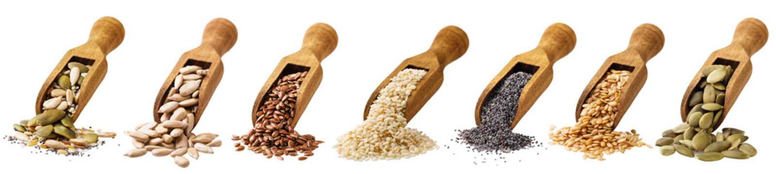 Scoop with seeds of pumpkin, the flax, sesame of sunflower and poppy isolated on a white background. Set of ingredients