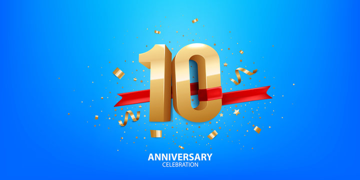 10th Anniversary celebration. 3D Golden numbers with confetti and ribbon.