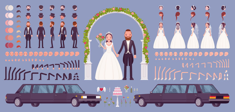 Bride and groom on a wedding ceremony creation kit, traditional celebration set with limousine, floral arch, decor constructor elements to build own design. Cartoon flat style infographic illustration