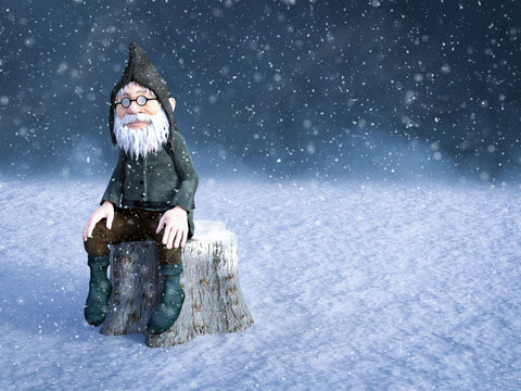 3D rendering of a Christmas gnome in snowy wheater.