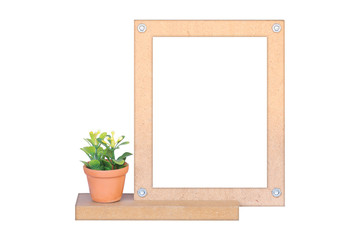 Flowers vase and wooden picture frame isolated on white