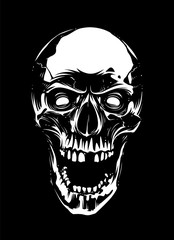 White Skull with Open Mouth on Black Background