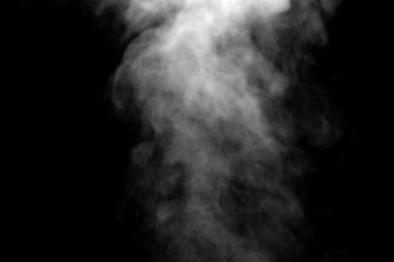 isolated smoke, abstract powder, water spray on black background, Out of focus