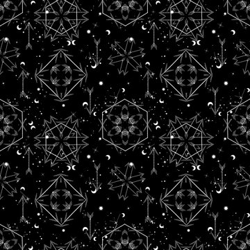 Sacred geometry seamless pattern. Astrology and astronomy vibes.Can be used for wallpapers, gift wrap, textile, duvets and linens