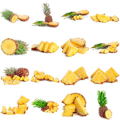 Set of juicy pineapples on white background