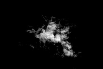 White cloud isolated on black background, Fluffy texture , Abstract smoke