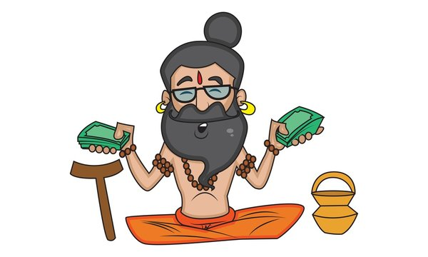 Vector cartoon illustration of cute data baba sitting, holding money in hand. Isolated on white background.