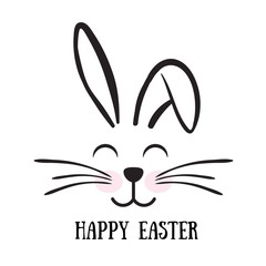 Vector cute bunny face design.Happy Easter.Print for t shirt, banner, greeting card