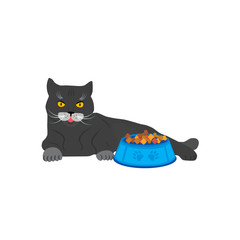 Aluminium Prints Cats Cute cat near the bowl with cat feed. Vector illustration isolated on white background.