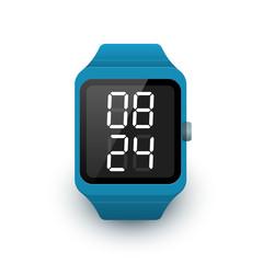 Fototapeta Smart watch icon with digital clock app on screen. Vector illustration of smartwatch on white background obraz