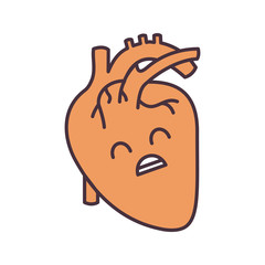 Sad human heart anatomy color icon