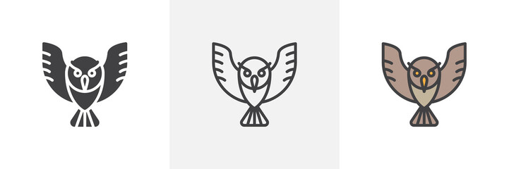 Owl bird icon. Line, glyph and filled outline colorful version, Flying owl animal outline and filled vector sign. Wisdom symbol, logo illustration. Different style icons set. Vector graphics