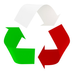 Symbol recycle with italian flag colors