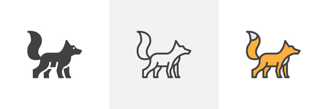 Fox with fluffy tail icon. Line, glyph and filled outline colorful version, fox wild animal outline and filled vector sign. Symbol, logo illustration. Different style icons set. Vector graphics