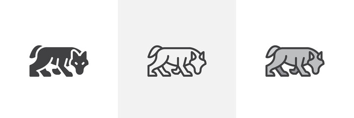 Hunting wolf icon. Line, glyph and filled outline colorful version, wolf predator animal outline and filled vector sign. Symbol, logo illustration. Different style icons set. Vector graphics
