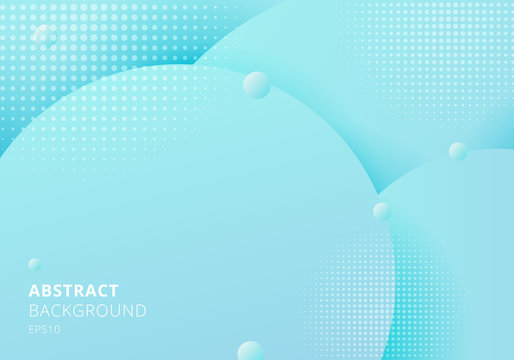 Abstract 3D liquid fluid circles blue pastels color beautiful background with halftone texture.