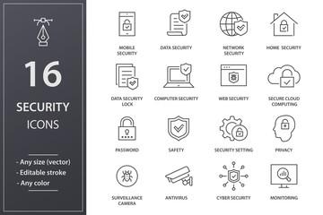 Security line icons set. Black vector illustration. Editable stroke.