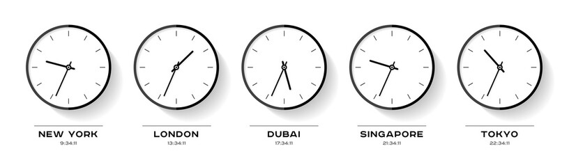 World time. Simple Clock icons in flat style. New York, London, Dubai, Singapore, Tokyo. Black Watch on white background. Business illustration for you presentation. Vector design objects