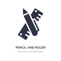 pencil and ruler icon on white background. Simple element illustration from Construction and tools concept.