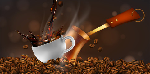 Coffee beans and a cup of steaming coffee with a transparency effect. 3D vector. High detailed realistic illustration