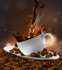 Cup of coffee with splash effect, coffee beans, transparent background.  3D vector. High detailed realistic illustration