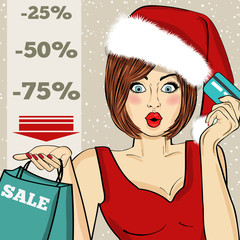 """Promotional """"Christmas sale"""" poster with pop art Santa girl"""