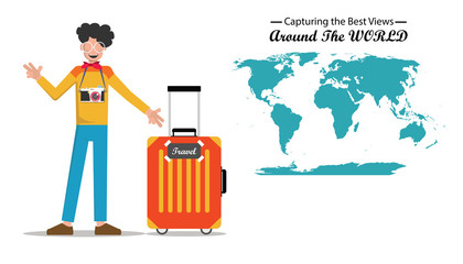 A man with his camera traveling around the world to capture good view or shoot concept. Modern designed, easy to edit and customize. Banner flat style. Vector illustration