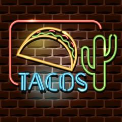 tacos neon advertising sign