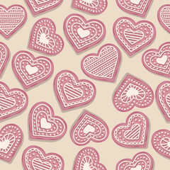 Love seamless pattern with pink heart cookies